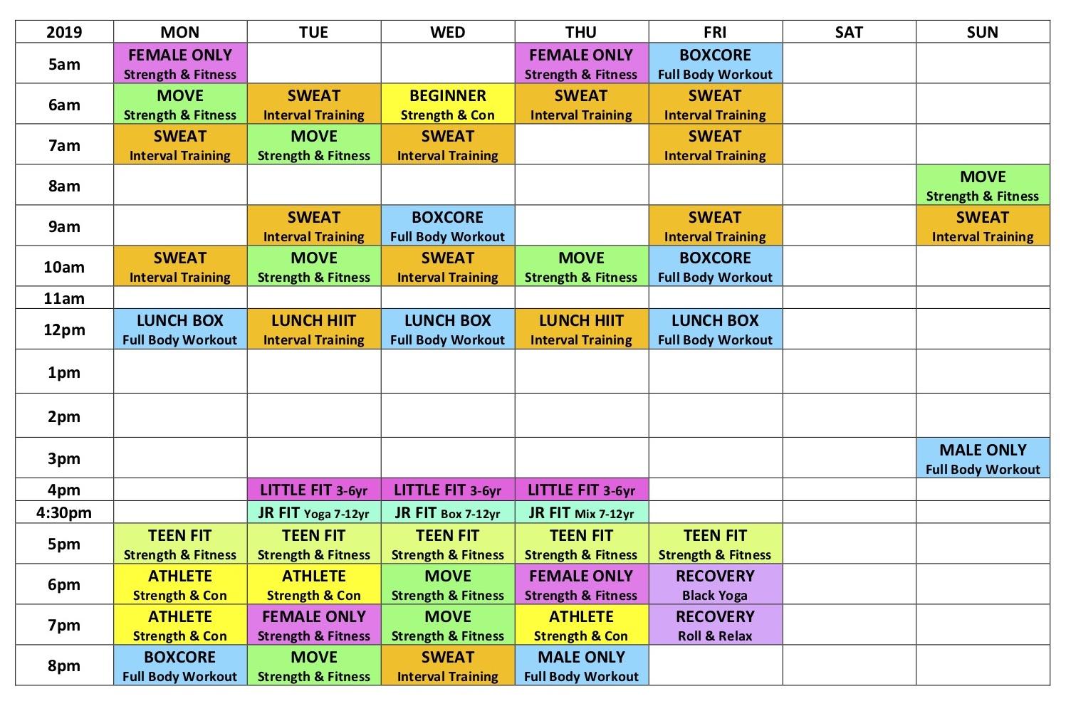 Gym Schedule DOOR